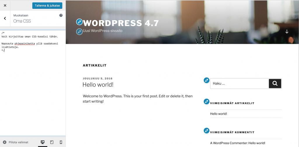 WordPress 4.7:n mukautin-näkymä